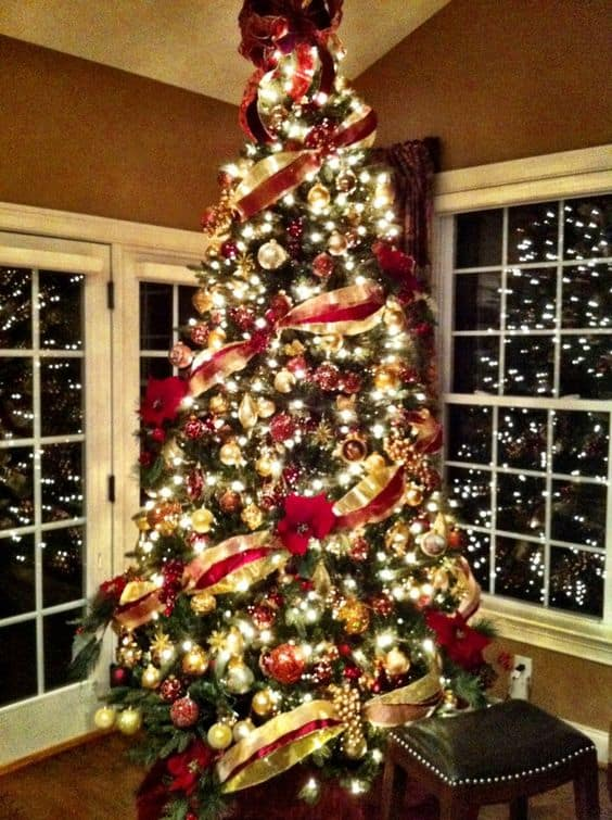 classic set up red and gold christmas tree - Gold Christmas Tree