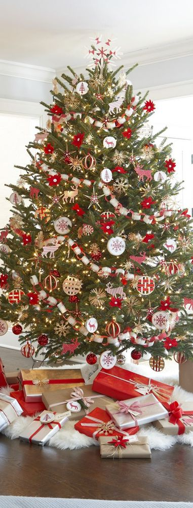 7bd82ec83ea99e544d13e09509e93bd0 source how do you see these stunning red and gold christmas trees - White Christmas Tree With Red And Gold Decorations