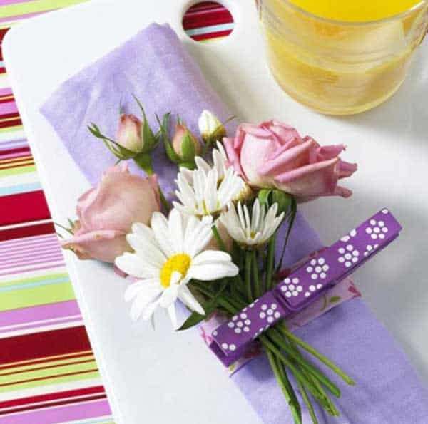 36. USE CLOTHESPINS IN YOUR TABLE SETUP
