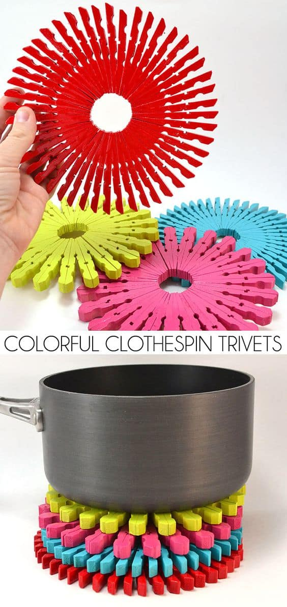 19. BUILD PRACTICAL CLOTHESPIN TRIVETS