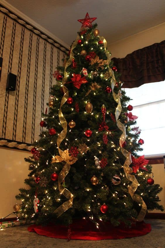 eff14f03cf7a9fd2f0154393028be34a - Photos Of Christmas Trees Decorated With Ribbon
