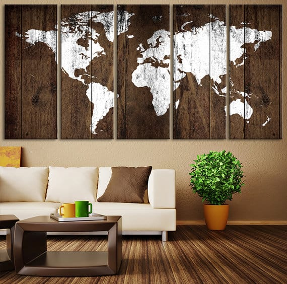 Add cozyness with rustic wall art ideas homesthetics inspiring world map infused in wood rustic wall decor4 gumiabroncs Image collections
