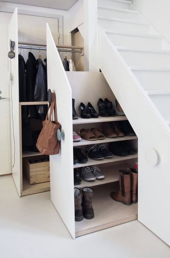 2. Storing shoes and jackets in style