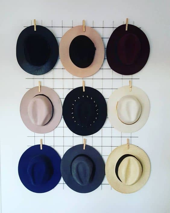16. WIRE MESH AND CLIPS FOR UNIQUE HAT STORAGE