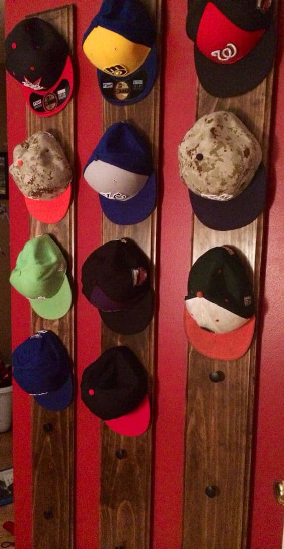 12. VERTICAL DISPLAY OF COLORFUL HATS