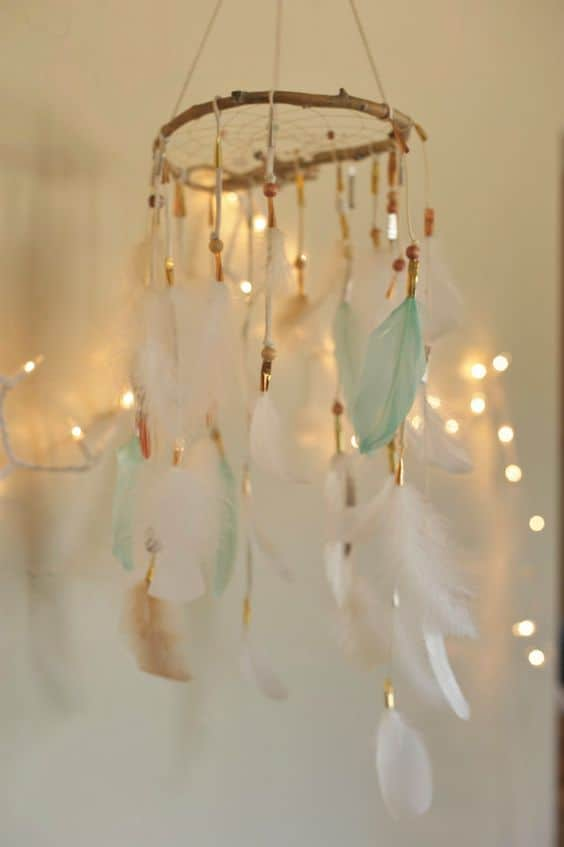 Spectacular wispy dream catcher baby mobile for a little princess