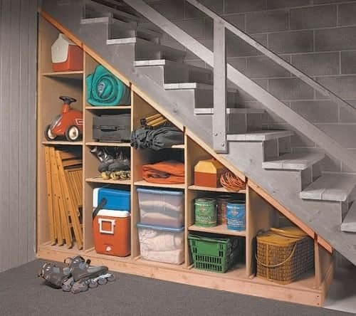 18. Open under stair compartments for seasonal items