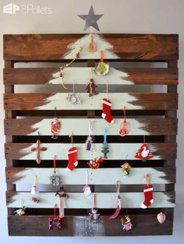2. HAND PAINTED WHITE CHRISTMAS TREE ON BROWN PALLET