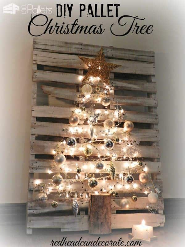 1. SIMPLE DISTRESSED PALLET TREE IN SILVER COAT