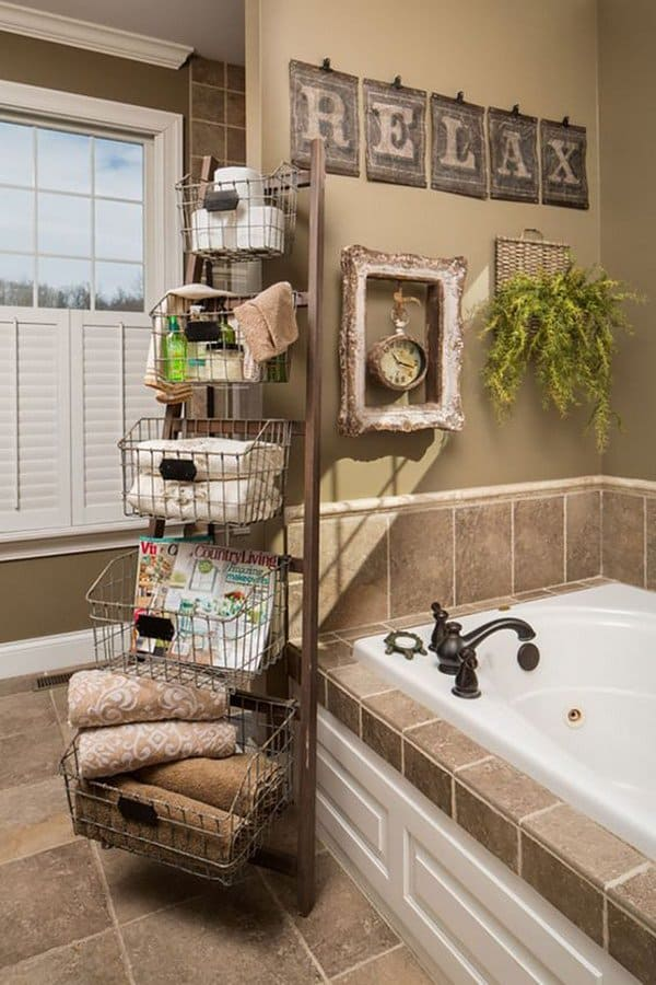 An Old Recycled Wooden Ladder And WIRE BASKETS Form The Essential Storage  Space