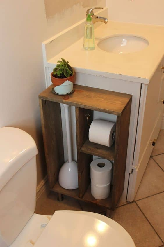 Use Wood To Create Storage For The Toilet NECESSITIES