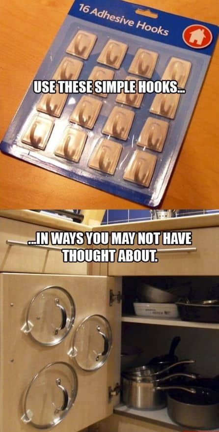 10. USE ADHESIVE HOOKS TO STORE LIDS EASILY AND SAFELY