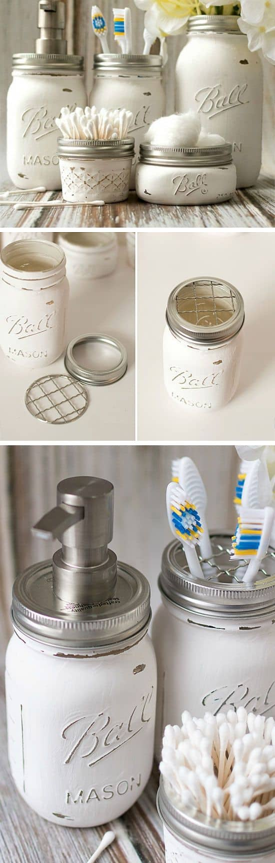 109. ORGANIZING BATHROOM NECESSITIES WITH RECYCLED JARS