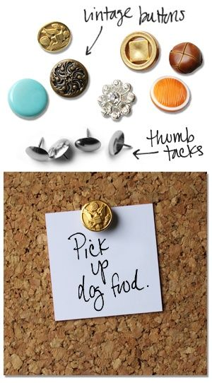 9. USE VINTAGE BUTTONS TO SHAPE REALLY COOL PINS
