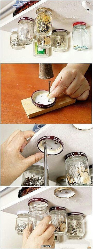 19. MOUNTED GLASS JARS TO STORE SMALLER THINGS