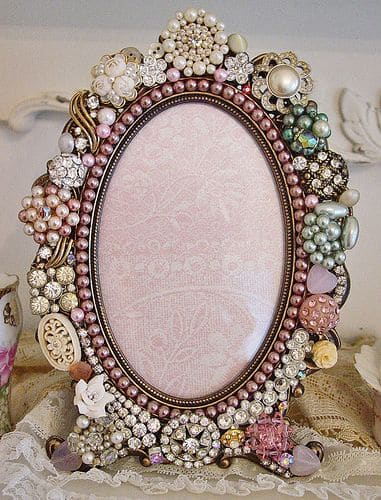 5. EMBELLISH A MIRROR FRAME WITH BEADS AND FABRIC