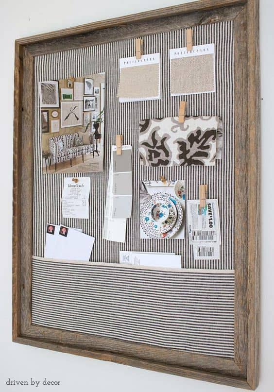 home office bulletin board ideas. 11. SALVAGED Old Frame And Retro Fabric Home Office Bulletin Board Ideas