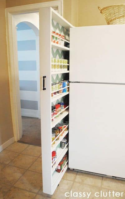 22. DIY HIDDEN STORAGE AREA FOR CANNED GOODS