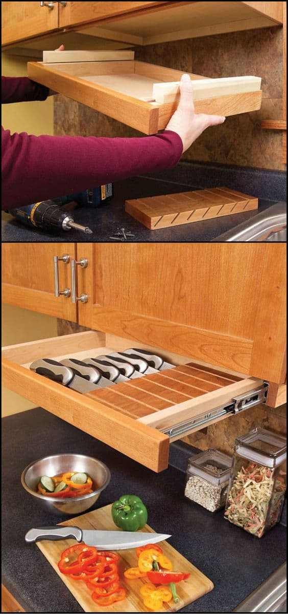 24. KITCHEN STORAGE IDEA FOR KNIVES