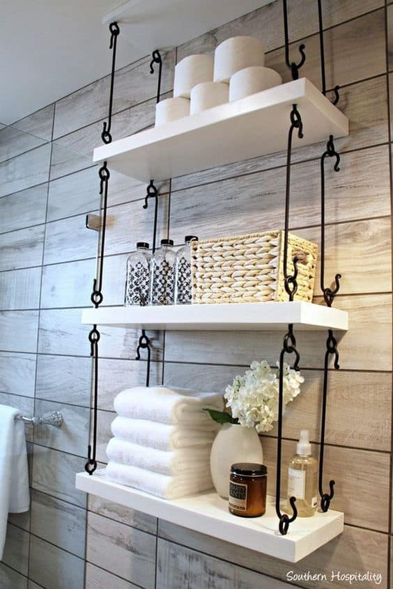 25. BATHROOM HANGING SHELVES