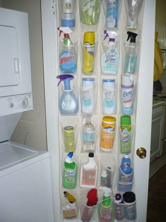 28. USE SHOE ORGANIZER TO HIDE HARMFUL CHEMICALS AND SPRAYS