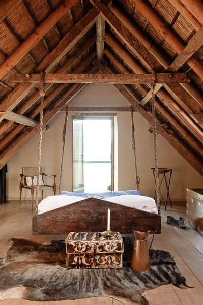 rustic floating bed design
