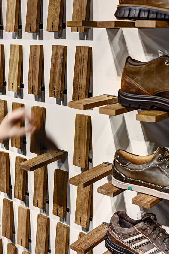 3. WOODEN FLIP-DOWN WALL SHELF FOR SHOES
