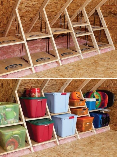 41. ATTIC STORAGE IDEA WITH PLASTIC CONTAINER BINS
