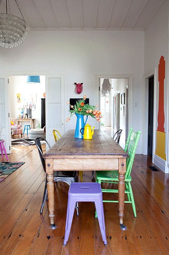 14. DIFFERENT MATERIALS AND COLORS on chairs for dinning