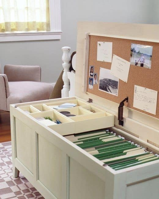48. ELABORATE FILING AREA FROM BENCH OR CHEST