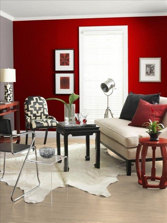 red wall living room. 4ebe284232c59804fdde16ff6fa63aaf 53 Bold Red Accent Walls To Beautify Your Home  Homesthetics