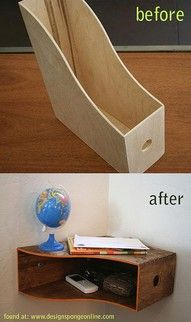 52. FLOATING SHELF FROM A WOODEN MAGAZINE RACK
