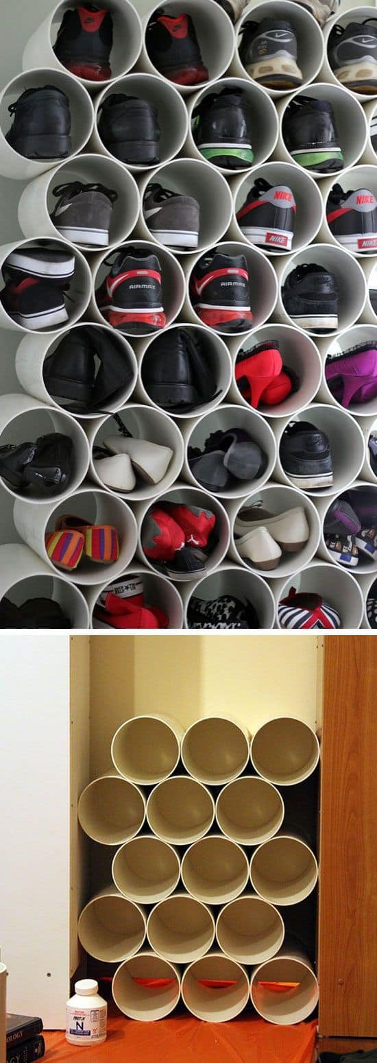 55. PVC PIPES FOR SHOE STORAGE