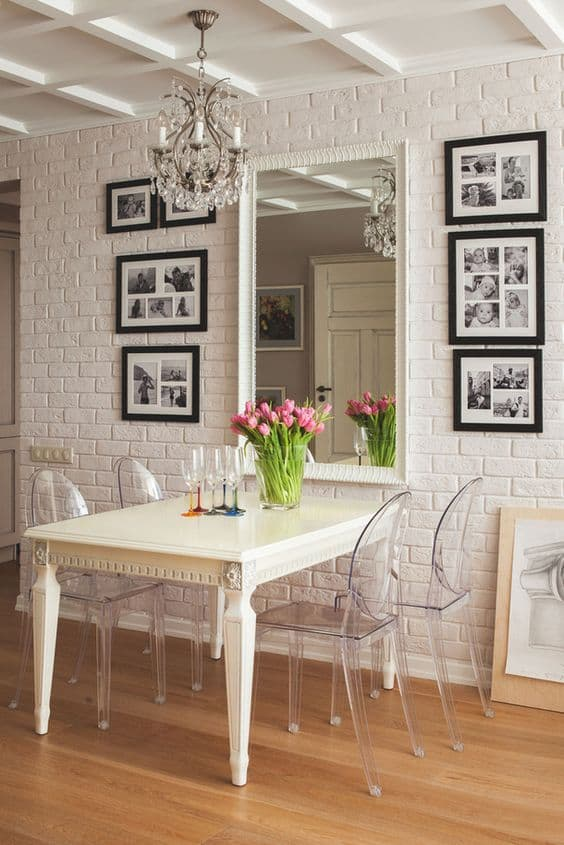 splendid transparent eclectic design with white bricked wall