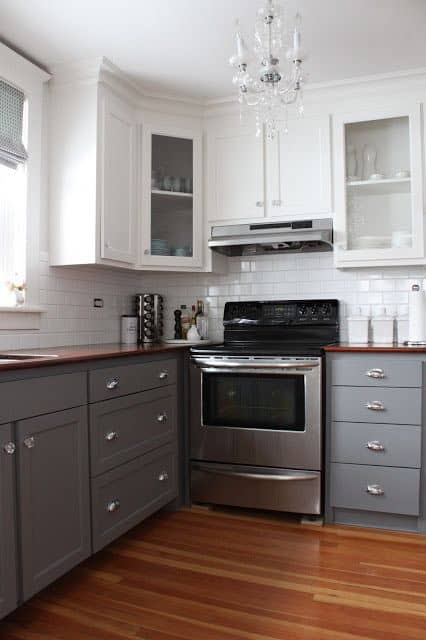 Vintage  simple but awe inspiring white and gray kitchen cabinets