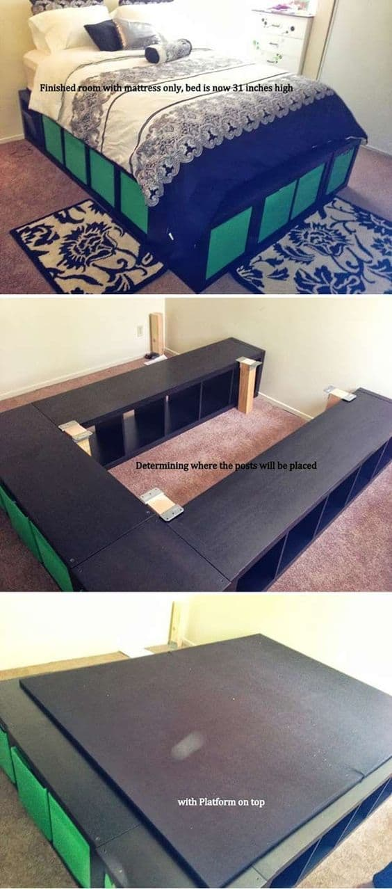 72. SPACE SAVING PLATFORM BED + STORAGE