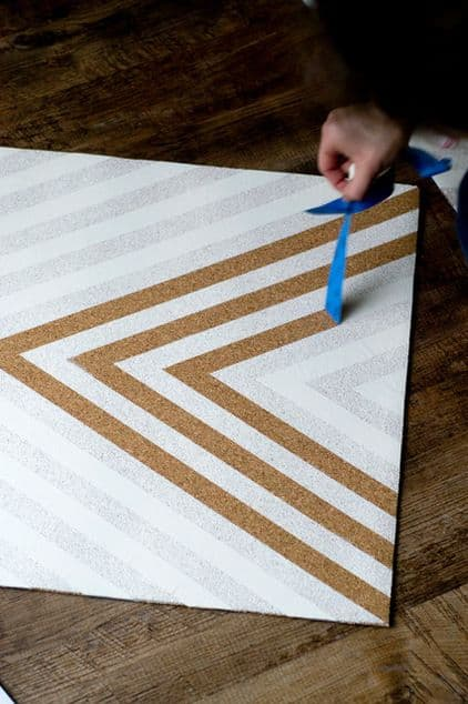 13. PAINT A CHEVRON PATTERN WITH SPRAY PAINT