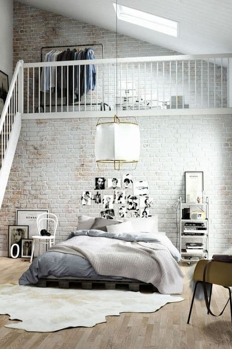 industrial loft design with white bricks