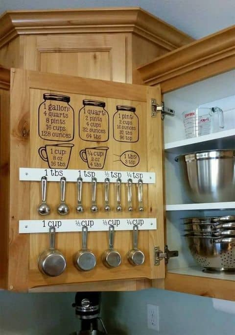 8. ORGANIZING BAKING TOOLS WITH MEASUREMENT REMINDERS