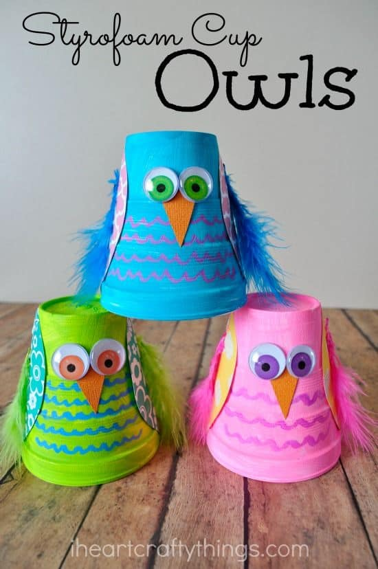 Ideas For Arts And Crafts For Kids Part - 16: 89. Styrofoam Cups Turned Into Colorful Owls