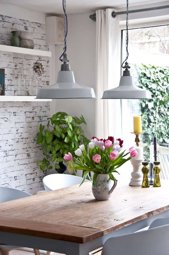 shabby chic kitchen with wooden bricks in white