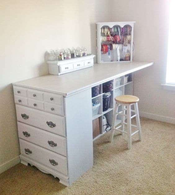 95. UPCYCLING AN OLD DRESSER INTO A CRAFTS TABLE