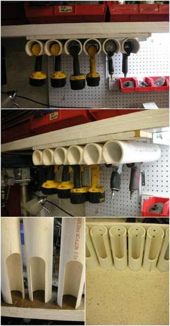 99. PVC PIPES TO STORE POWER TOOLS IN THE GARAGE