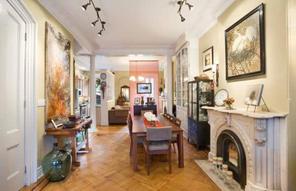 Art-work-in-the-dining-room-highlighted-using-daft-track-lighting