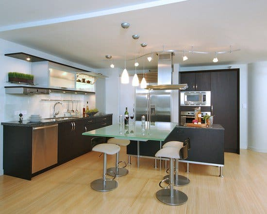 Astonishing-Bamboo-Floor-In-Kitchen-With-Dark-Brown-Kitchen-Island-And-Silver-Refrigerator-Combined-With-Glass-Kitchen-Table-With-Brown-Stools-Complet