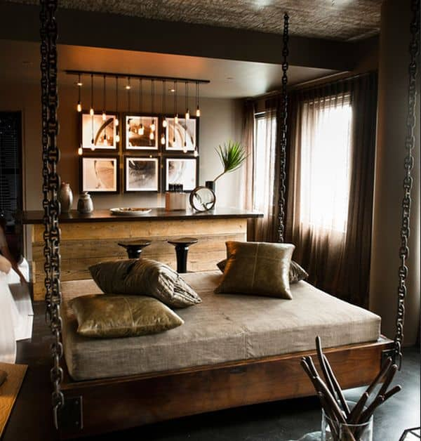 Beautiful-contemporary-bedroom-with-stylish-hanging-bed-and-cool-lighting