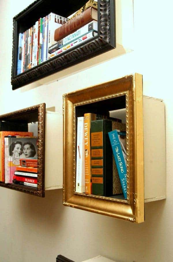4. USE OLD PICTURE FRAMES TO CREATE SHELVES