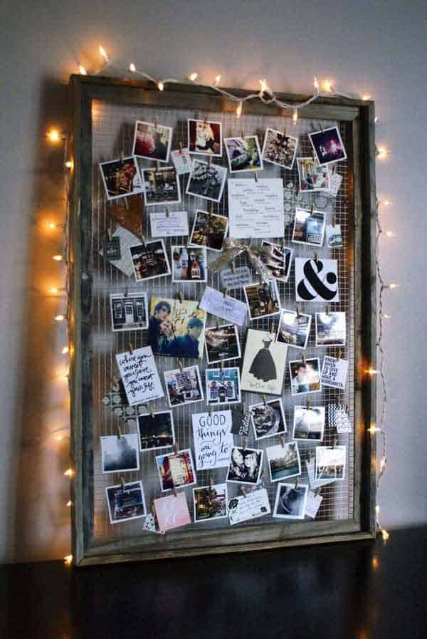 33. USE STRING ART TO EMPHASIZE YOUR PICTURE DISPLAY