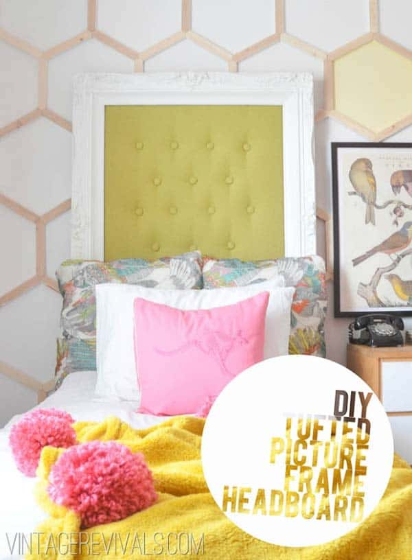 36. DIY TUFTED PICTURE FRAME HEADBOARD