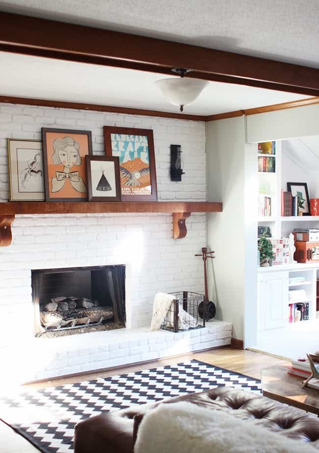 traditional wooden exposed beams surrounded by airy white bricks